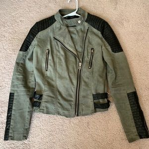 Olive Green and Black Moto Biker Jacket Forever 21